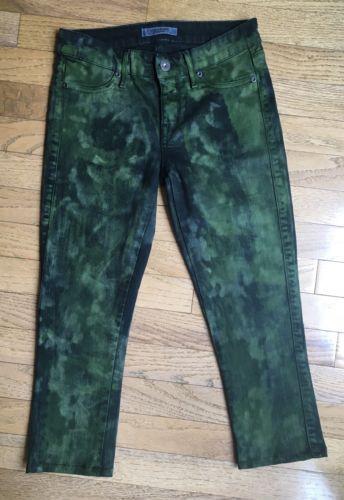 Rich & Skinny Size 26 Green Tie Dye Cropped Skinny Jeans