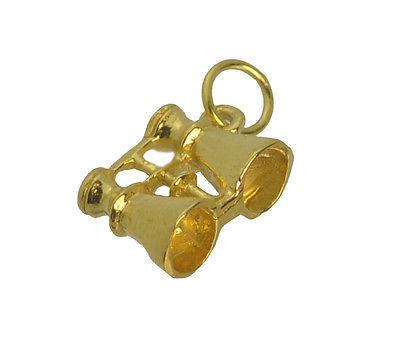 24K Yellow Gold Plated 3D Binoculars Zoom Travel Vacation Pendant Charm Jewelry