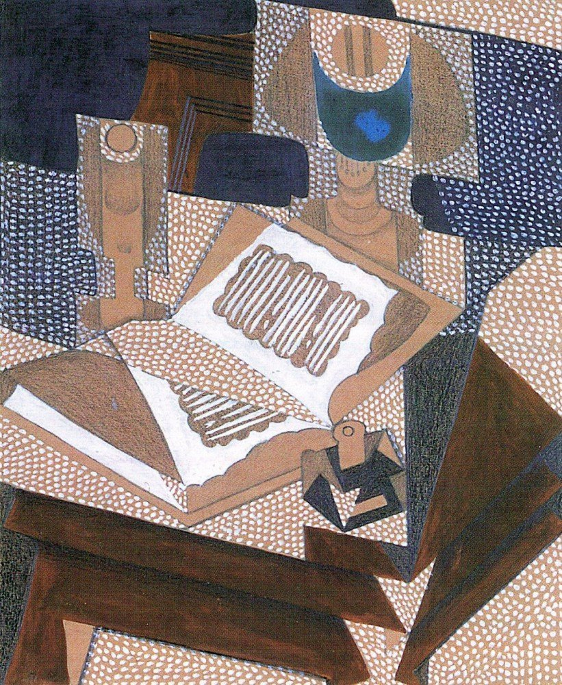 100% Hand Painted Oil on Canvas - The book by Juan Gris - 30x40 Inch