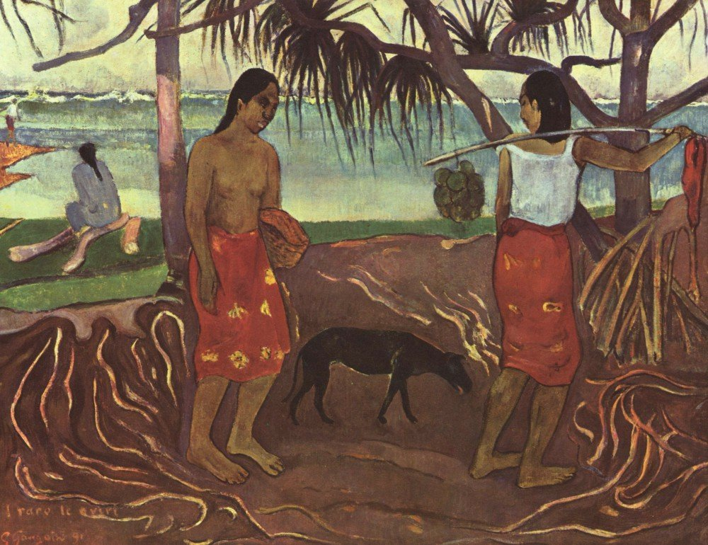 100% Hand Painted Oil on Canvas - Raro Te Ouiri by Gauguin - 30x40 Inch