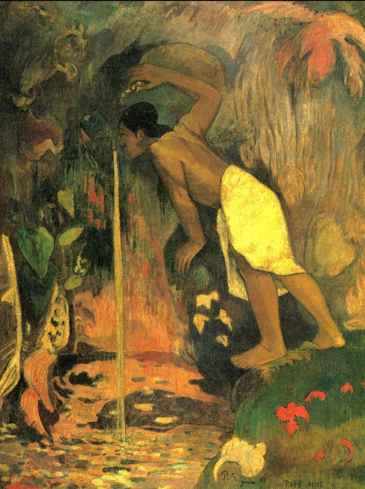 100% Hand Painted Oil on Canvas - Mysterious Source by Gauguin - 30x40 Inch
