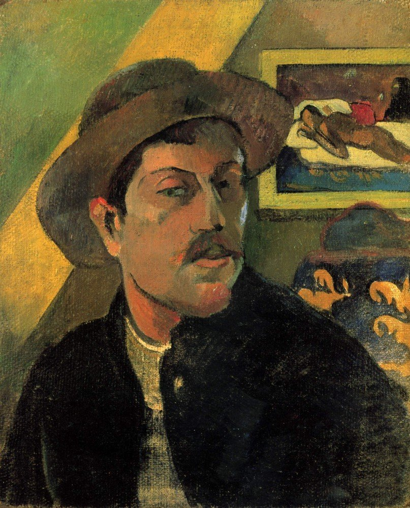 100% Hand Painted Oil on Canvas - Self Portrait by Gauguin - 24x36 Inch
