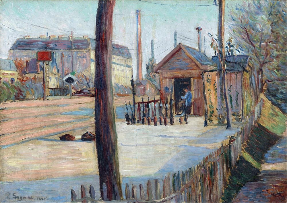 100% Hand Painted Oil on Canvas - Signac - Railway junction near Bois-Colombe...