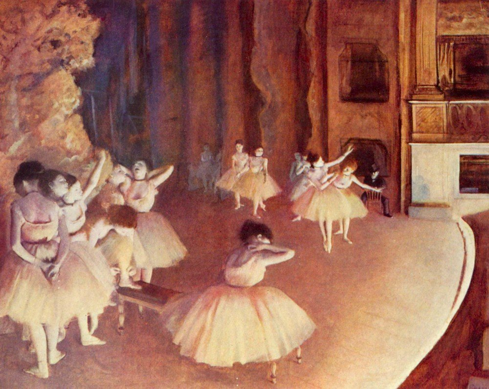 100% Hand Painted Oil on Canvas - Dress rehearsal of the ballet on the stage ...
