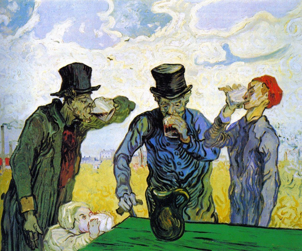 100% Hand Painted Oil on Canvas - Drinkers by Van Gogh - 20x24 Inch