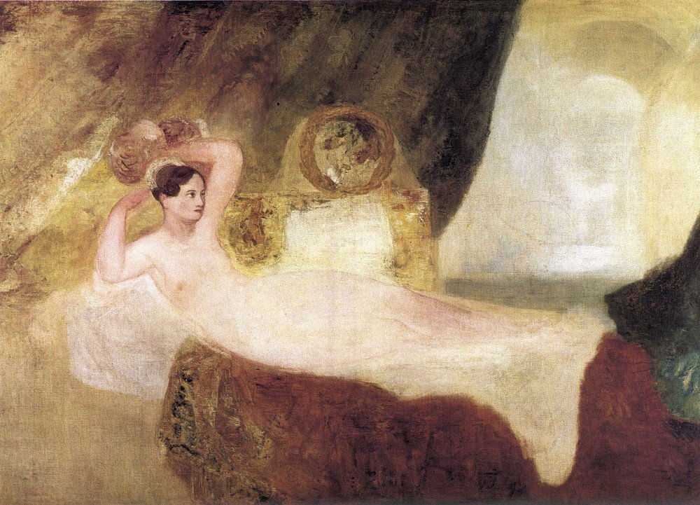 100% Hand Painted Oil on Canvas - Reclining Venus by Joseph Mallord Turner - ...