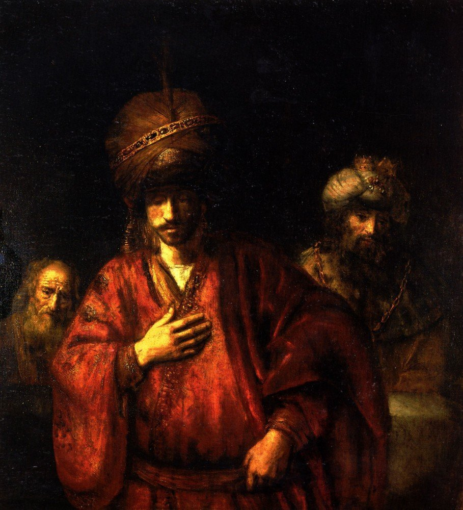 100% Hand Painted Oil on Canvas - Haman in disgrace by Rembrandt - 30x40 Inch