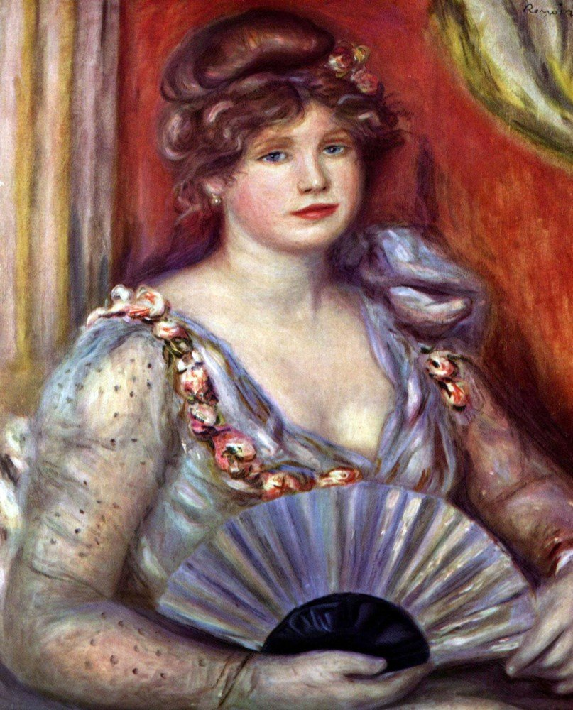 100% Hand Painted Oil on Canvas - Lady with fan by Renoir - 30x40 Inch