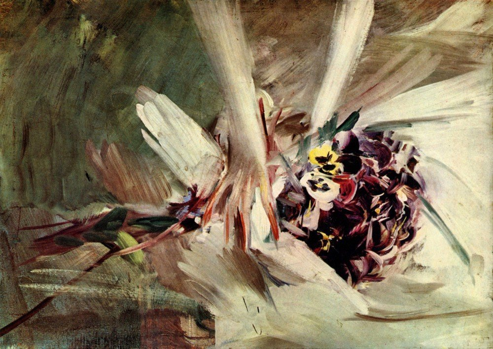 100% Hand Painted Oil on Canvas - The Pansy by Giovanni Boldini - 24x36 Inch