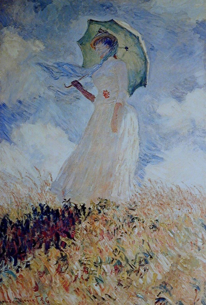 100% Hand Painted Oil on Canvas - Lady with umbrella - 30x40 Inch