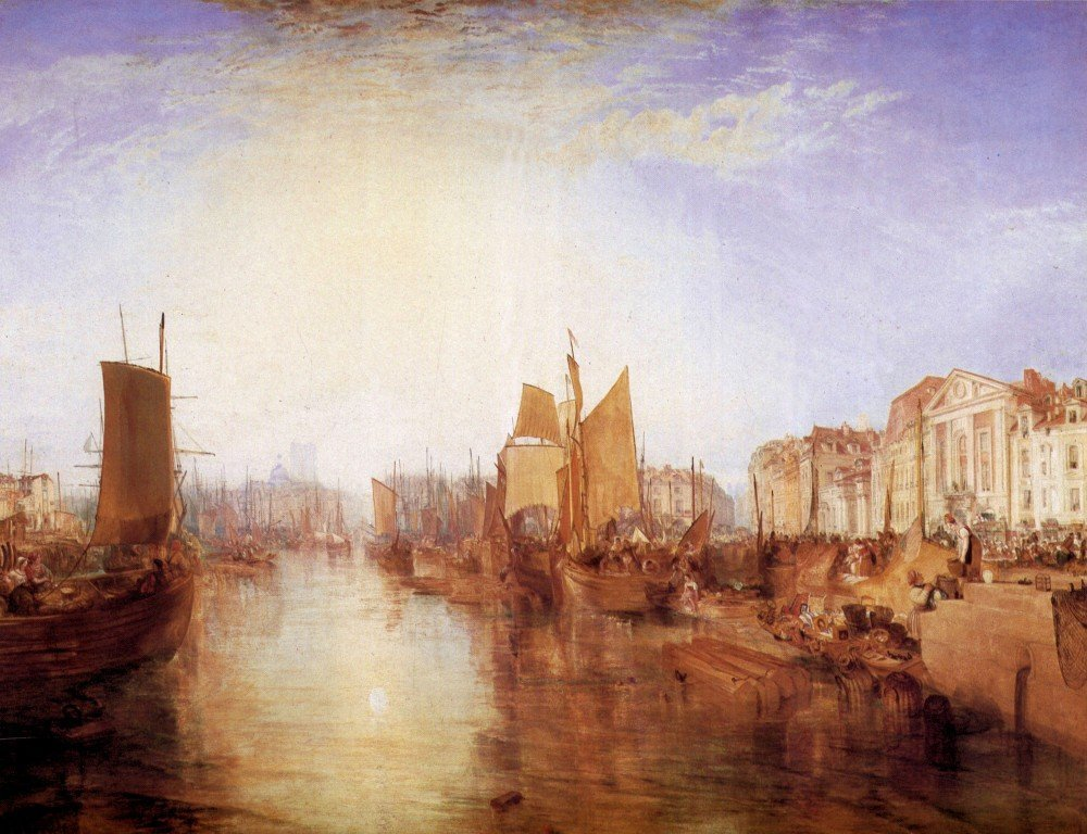 100% Hand Painted Oil on Canvas - Harbor of Dieppe by Joseph Mallord Turner -...