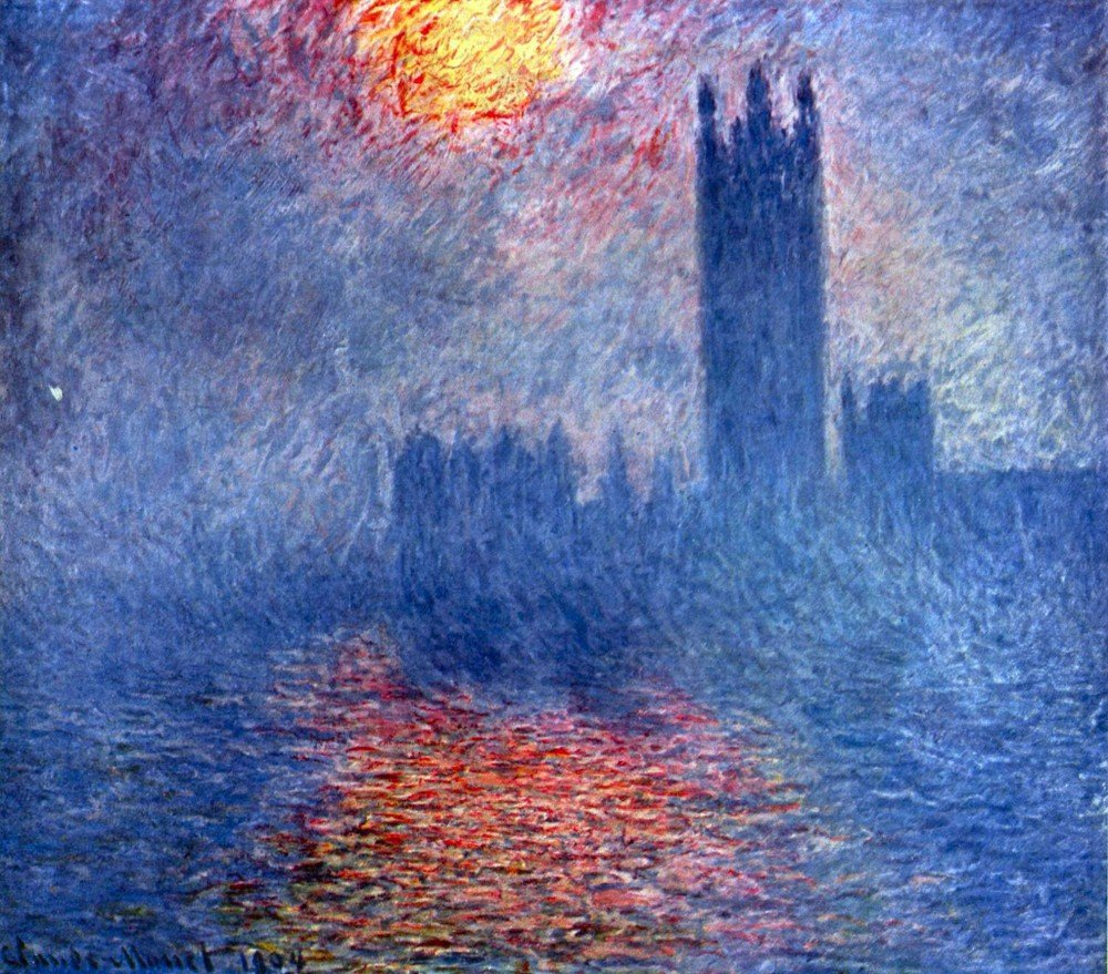 100% Hand Painted Oil on Canvas - The Parlaiment in London by Monet - 24x36 Inch