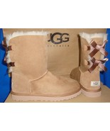 UGG Australia Bailey Bow Chestnut Suede Sheepskin Boots Size US 7 NEW #1002954 - $139.85