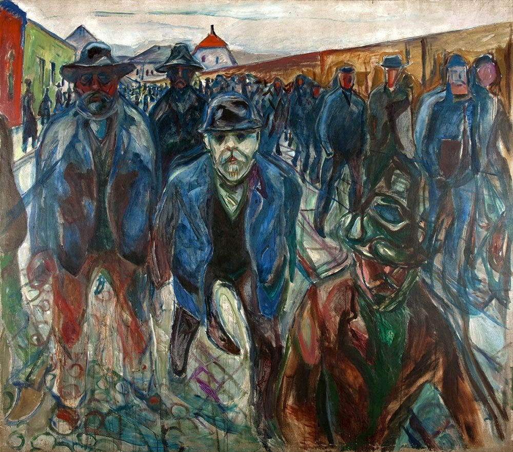 100% Hand Painted Oil on Canvas - Munch - Workers on their way home - 20x24 Inch