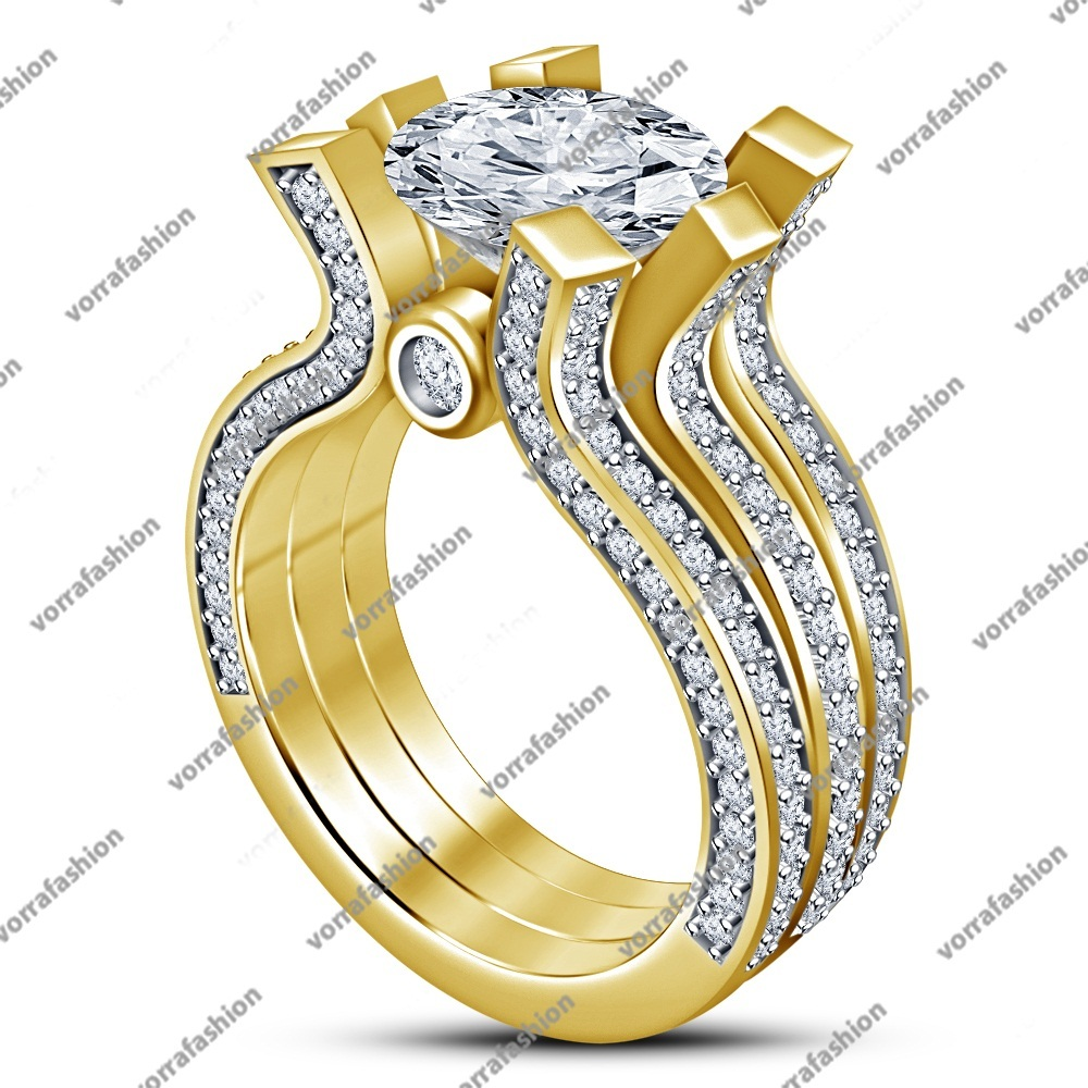 Women's Engagement Trio Ring Set In Yellow Gold Plated 925 Silver Round White CZ