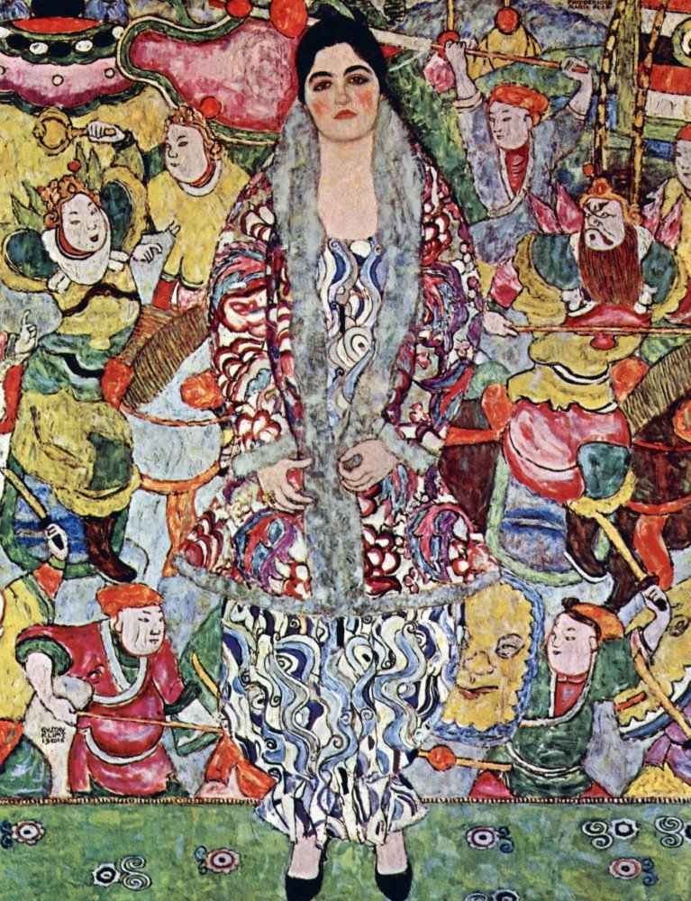 100% Hand Painted Oil on Canvas - Portrait of Frederika Maria Beer by Klimt -...