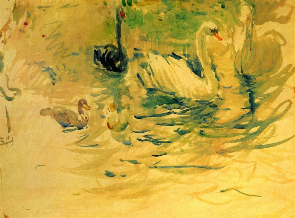 100% Hand Painted Oil on Canvas - Swans by Morisot - 30x40 Inch