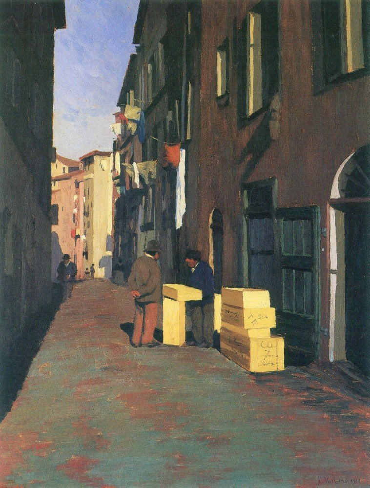 100% Hand Painted Oil on Canvas - Old street in Nice, France by Felix Vallott...