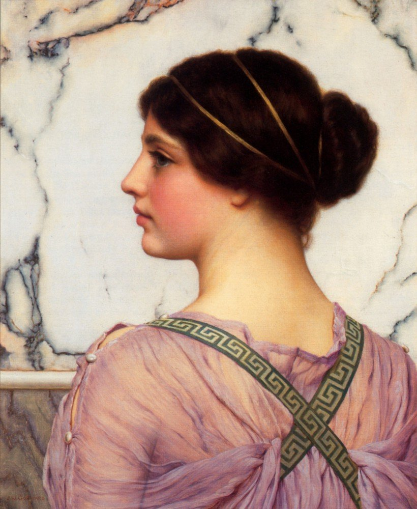 100% Hand Painted Oil on Canvas - Godward - A grecian lovely - 30x40 Inch