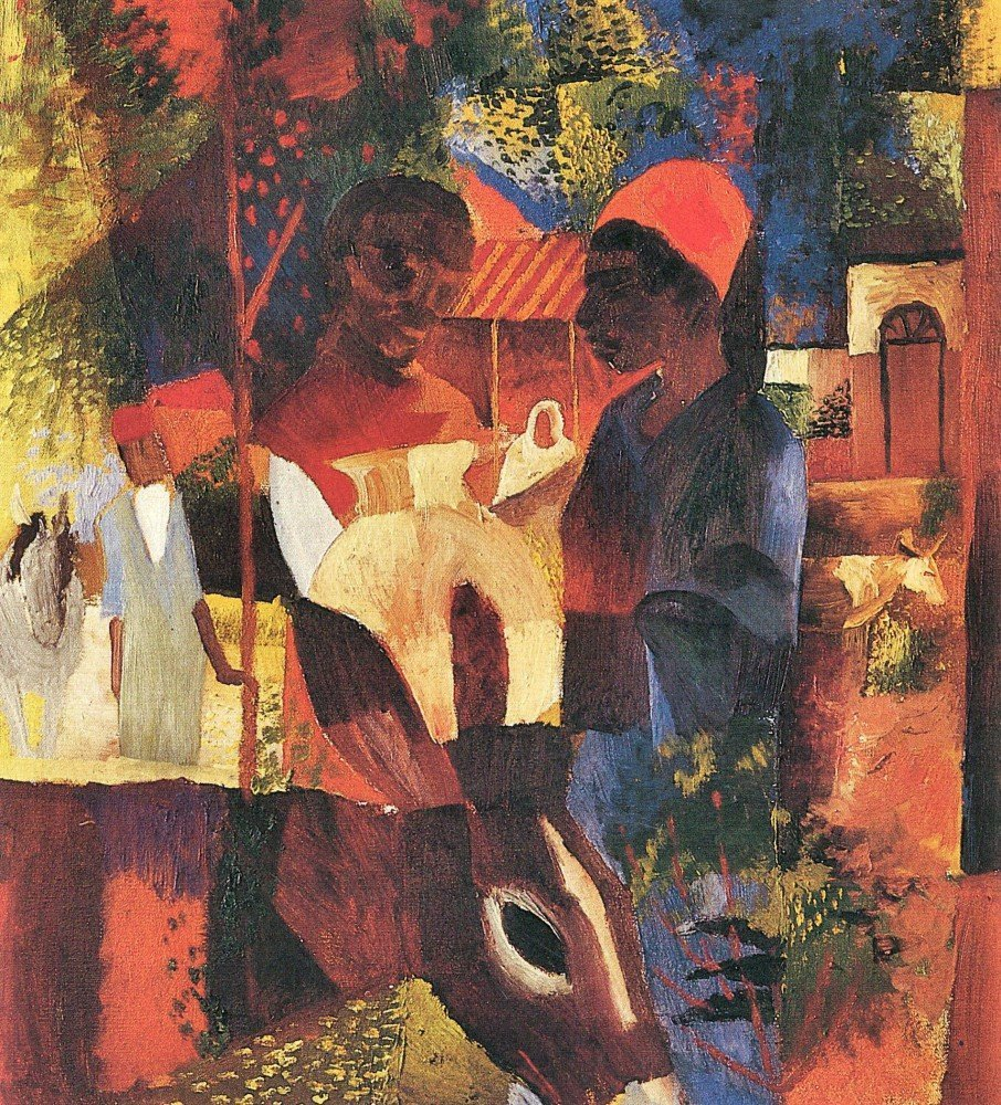 100% Hand Painted Oil on Canvas - Market in Tunisia by August Macke - 30x40 Inch