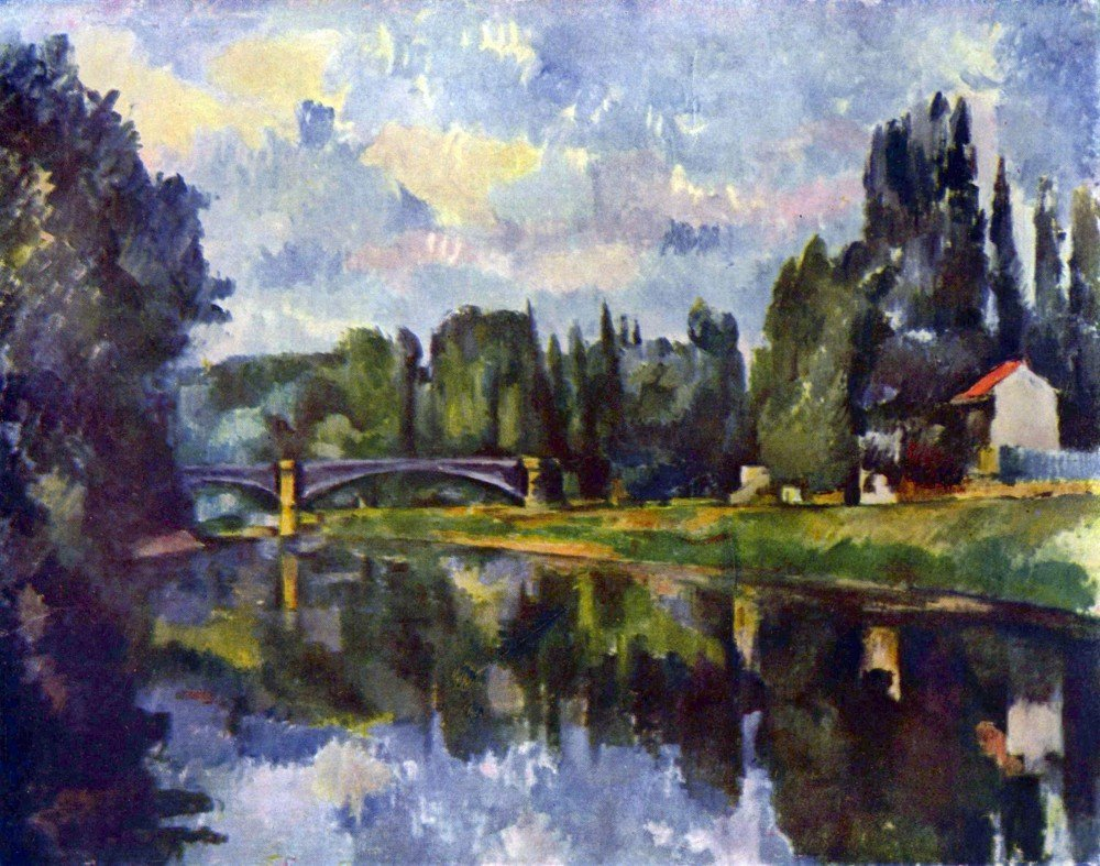 100% Hand Painted Oil on Canvas - Marne Shore by Cezanne - 30x40 Inch