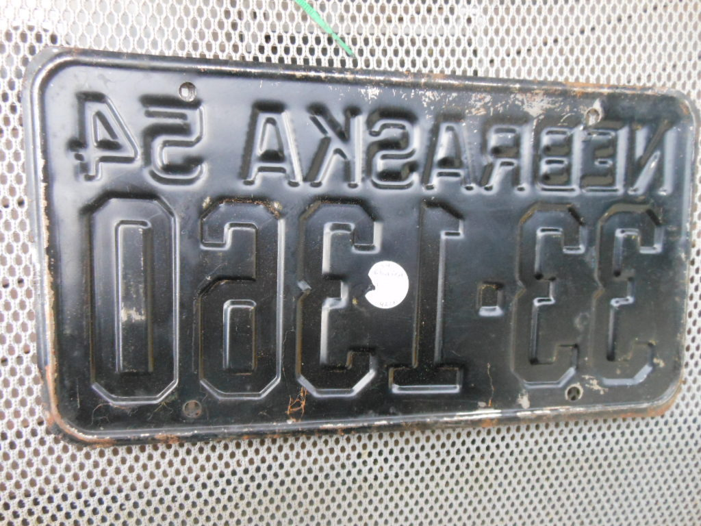 1954 Nebraska Vintage Vehicle license Plate  - 33-1360 - Yellow on Black
