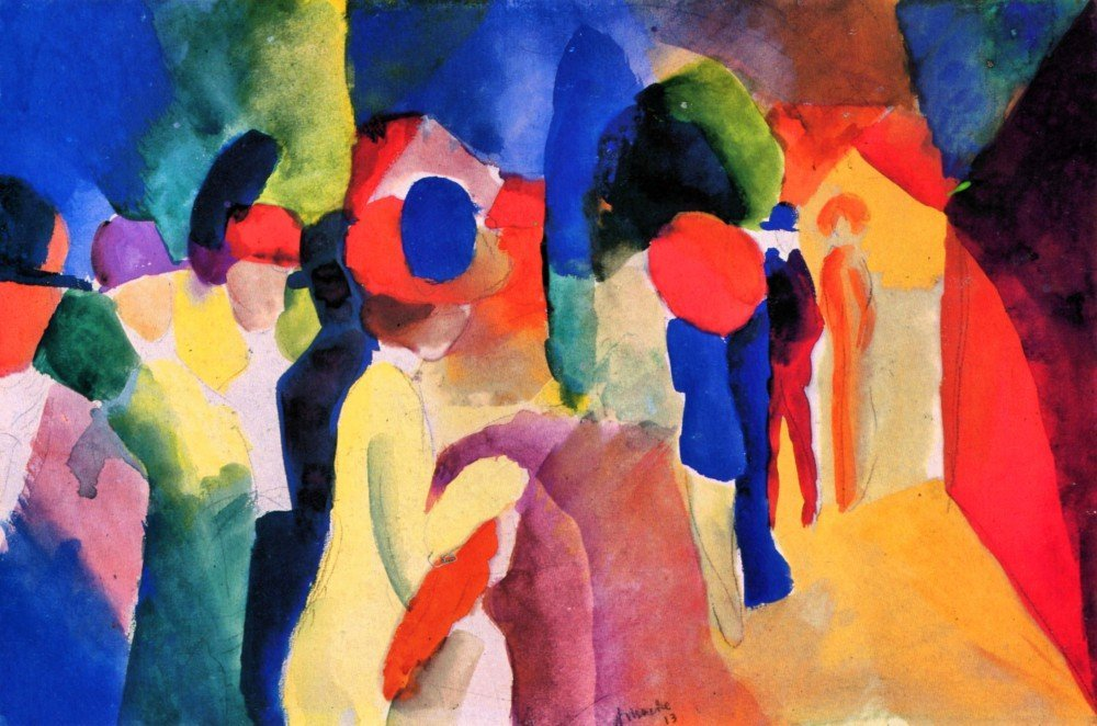 100% Hand Painted Oil on Canvas - With yellow jacket by August Macke - 20x24 ...
