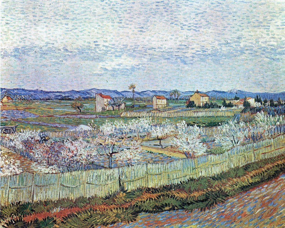 100% Hand Painted Oil on Canvas - La Crau near Arles with blossoming peach tr...