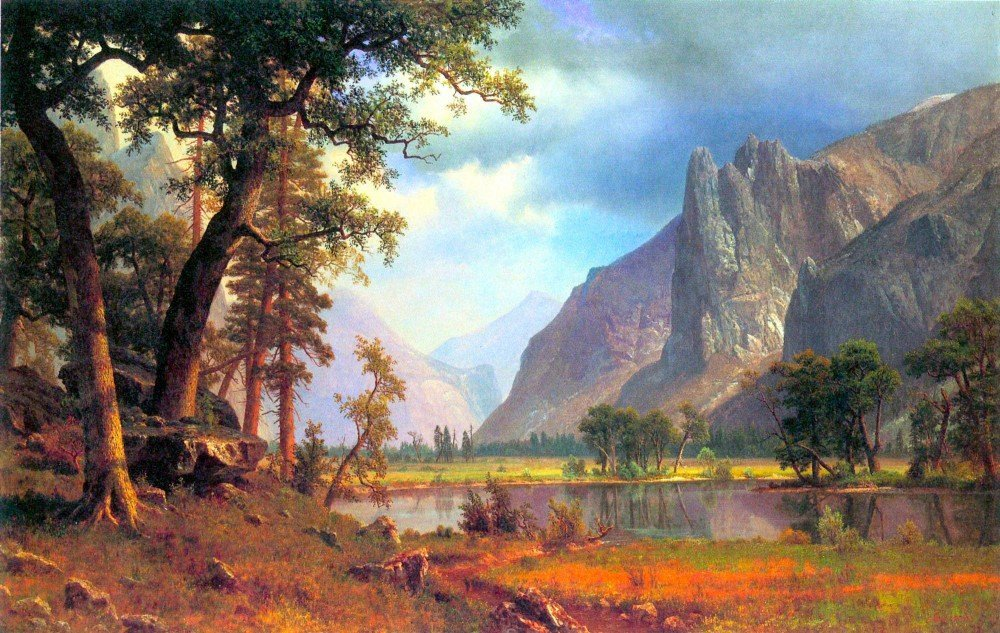 100% Hand Painted Oil on Canvas - Yosemite Valley 2 by Bierstadt - 30x40 Inch
