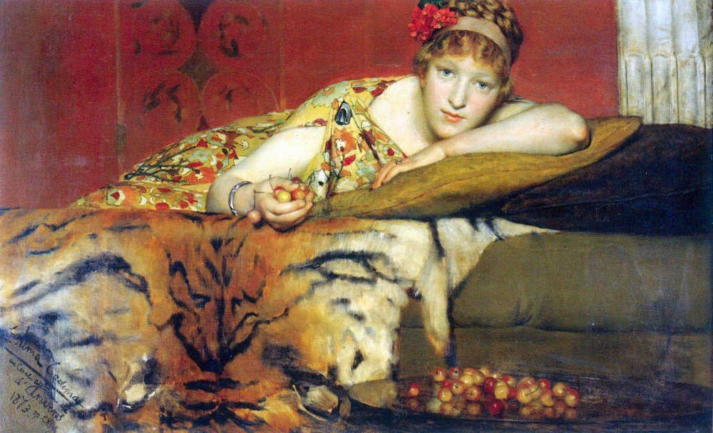 100% Hand Painted Oil on Canvas - A craving for cherries by Alma-Tadema - 30x...