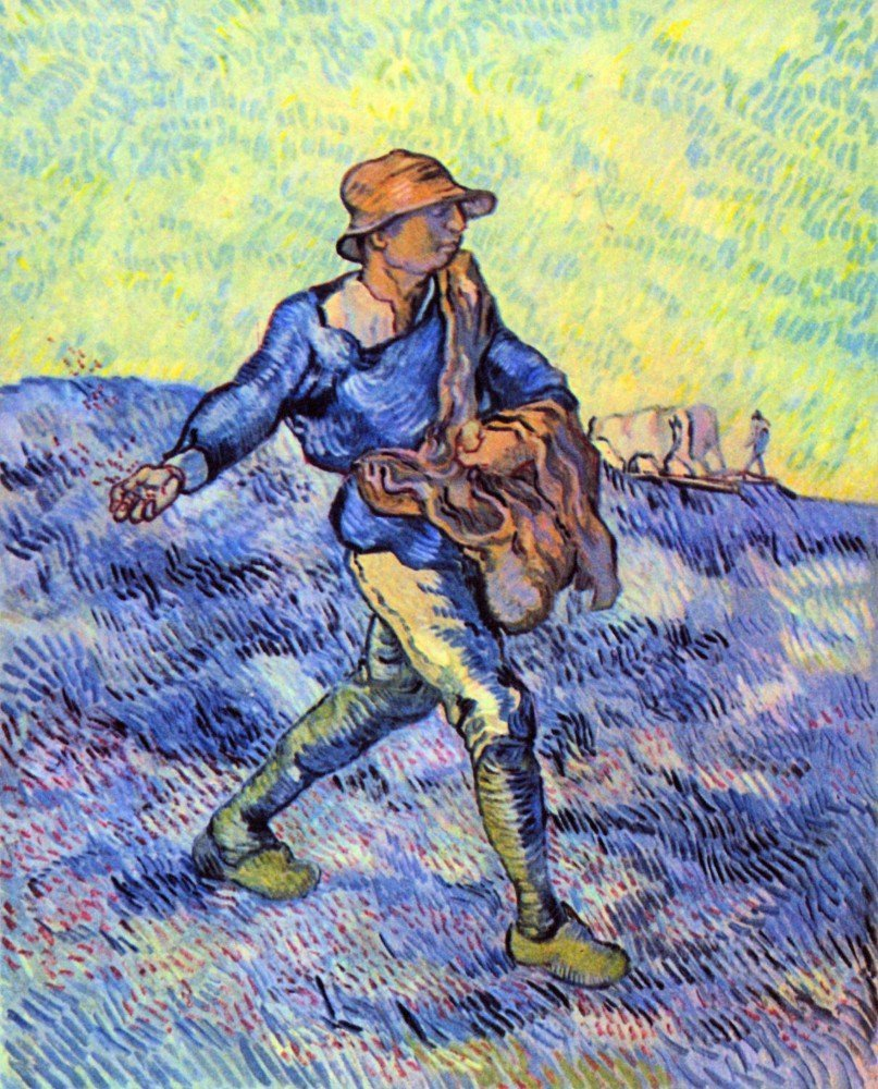 100% Hand Painted Oil on Canvas - The Sower 1 by Van Gogh - 30x40 Inch
