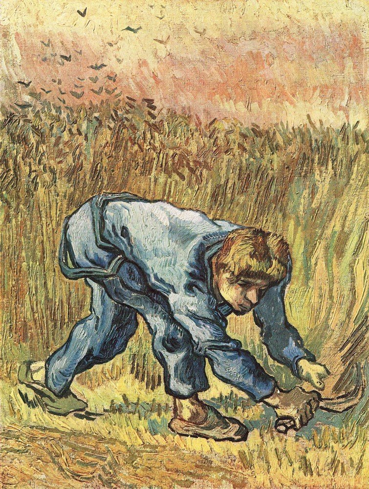 100% Hand Painted Oil on Canvas - The sower with sickle by Van Gogh - 30x40 Inch