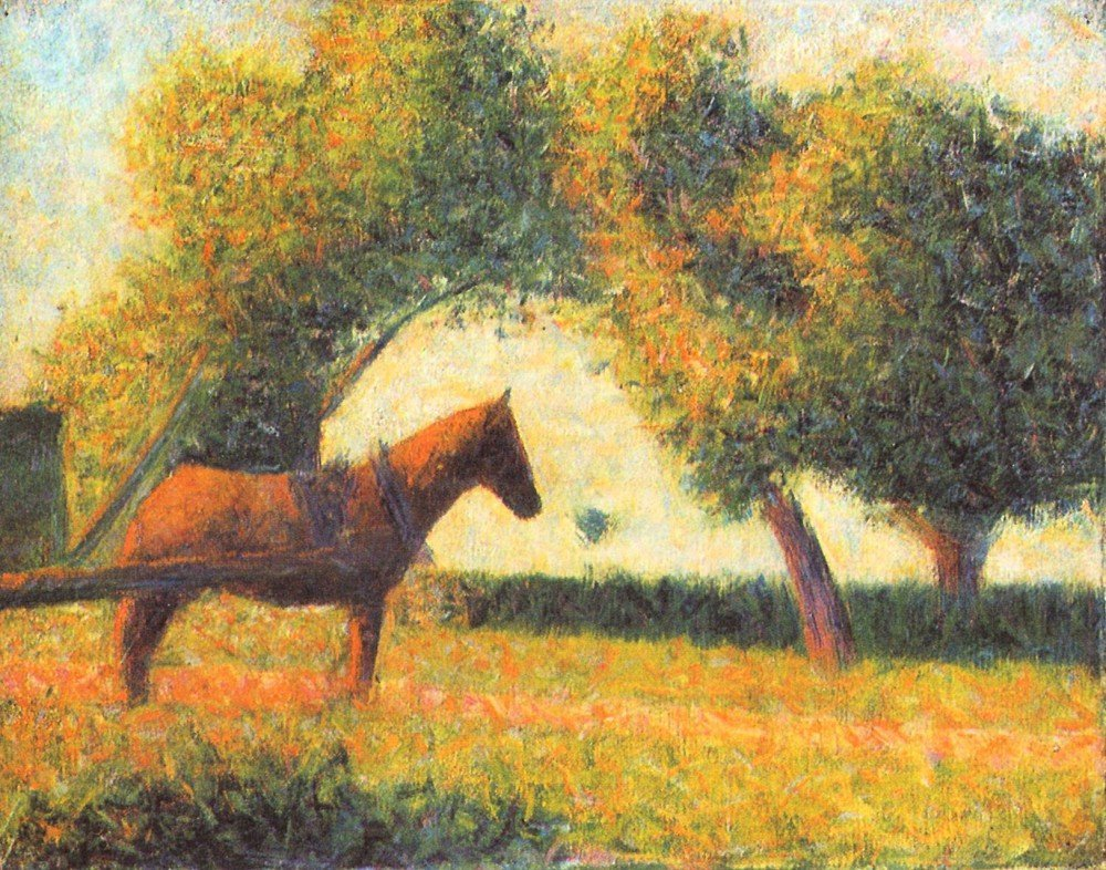 100% Hand Painted Oil on Canvas - Horse and wagon by Seurat - 24x36 Inch