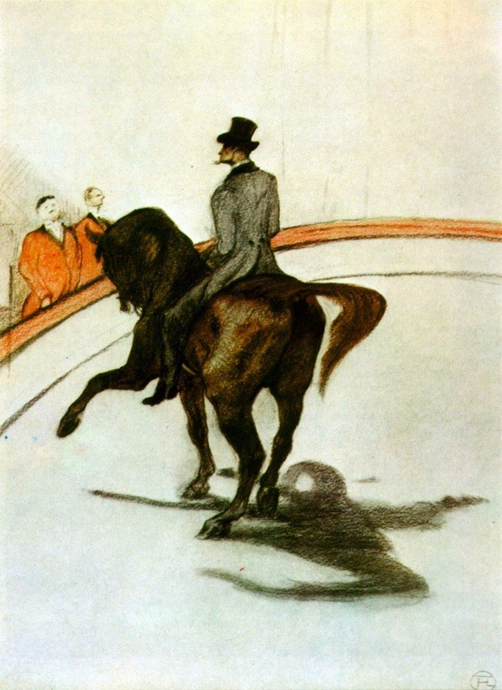 100% Hand Painted Oil on Canvas - Horse in the Ring by Toulouse-Lautrec - 24x...