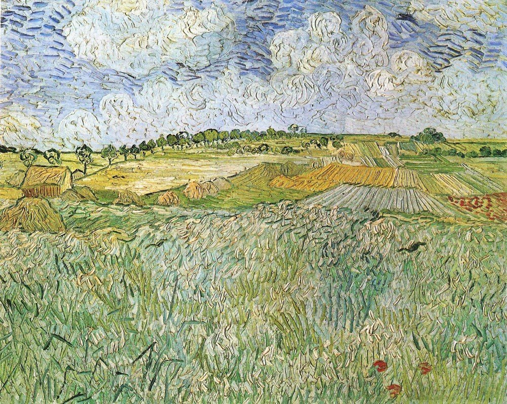 100% Hand Painted Oil on Canvas - Auvers with rain clouds by Van Gogh - 30x40...