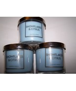 Lot of 3 Bath & Body Works Snowflakes & Citrus Scented Jar Candle 4 oz - $25.50