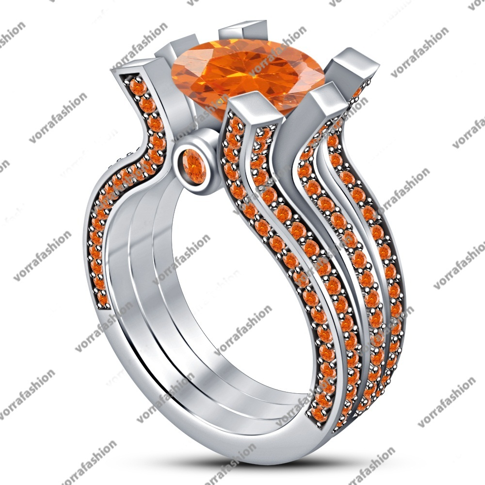 925 Silver White Gold Plated Round Orange Sapphire Engagement Trio Ring Set