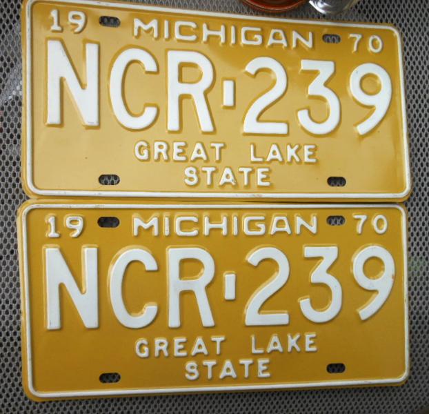 1970 Michigan Vehicle License Plates (pair) - NCR-239 - Great Lake State