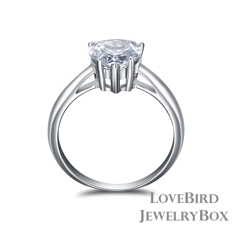 2 ct. 925 Sterling Silver Cubic Zirconia Heart Cut Engagement Ring