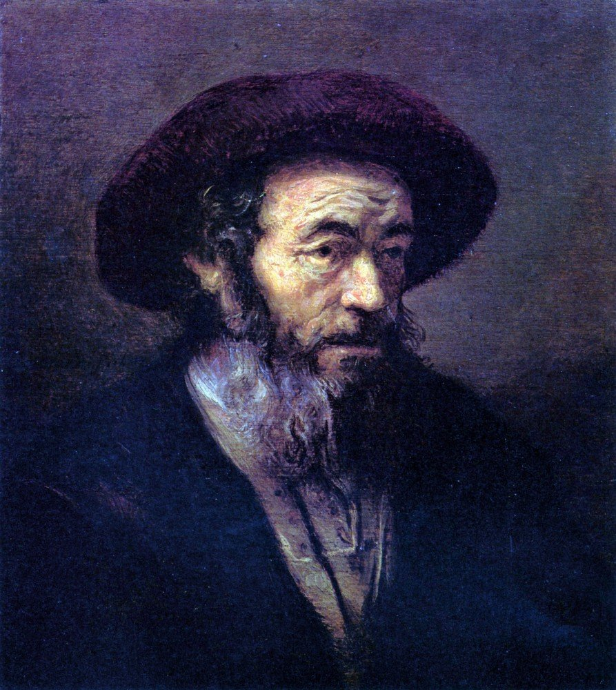 100% Hand Painted Oil on Canvas - Old man with a fur cap by Rembrandt - 30x40...