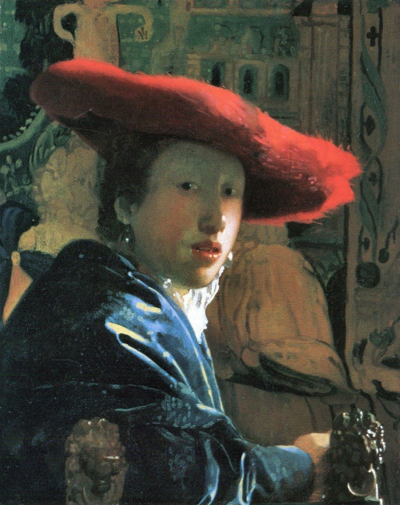 100% Hand Painted Oil on Canvas - Girl with red hat by Vermeer - 30x40 Inch