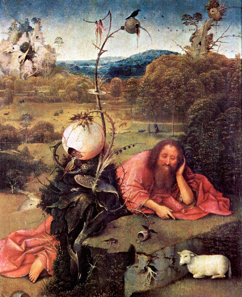 100% Hand Painted Oil on Canvas - Meditator St. John the Baptist by Bosch - 3...