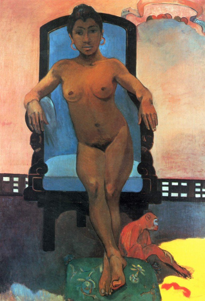 100% Hand Painted Oil on Canvas - Anna the Java Woman by Gauguin - 30x40 Inch