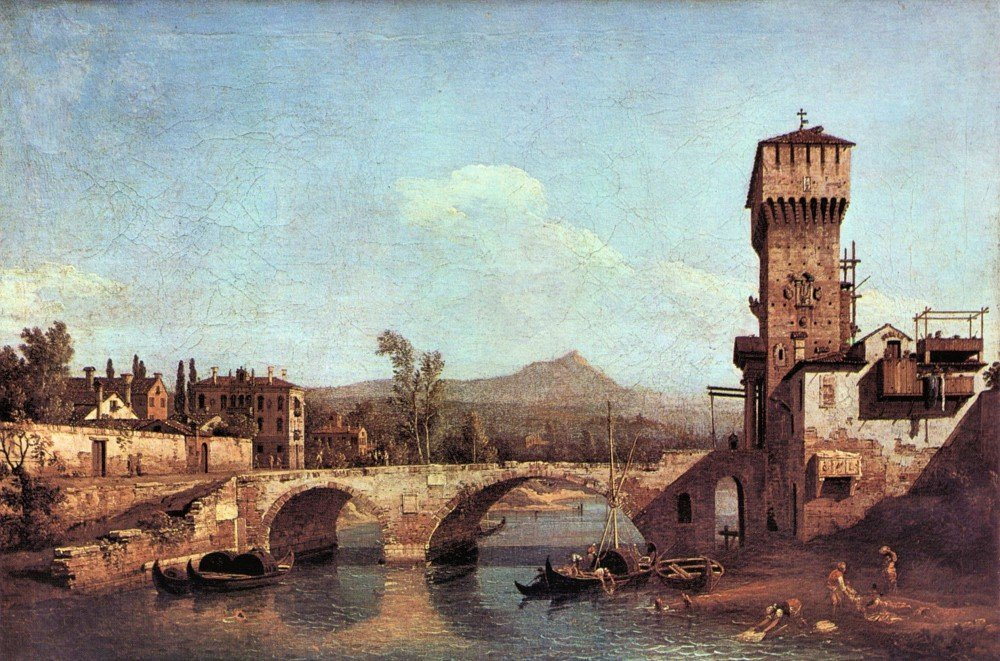 100% Hand Painted Oil on Canvas - Capriccio Veneto by Canaletto - 30x40 Inch
