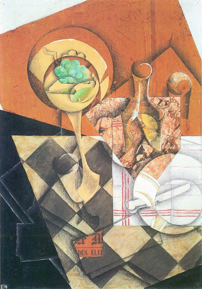 100% Hand Painted Oil on Canvas - Fruit peel and carafe by Juan Gris - 24x36 ...
