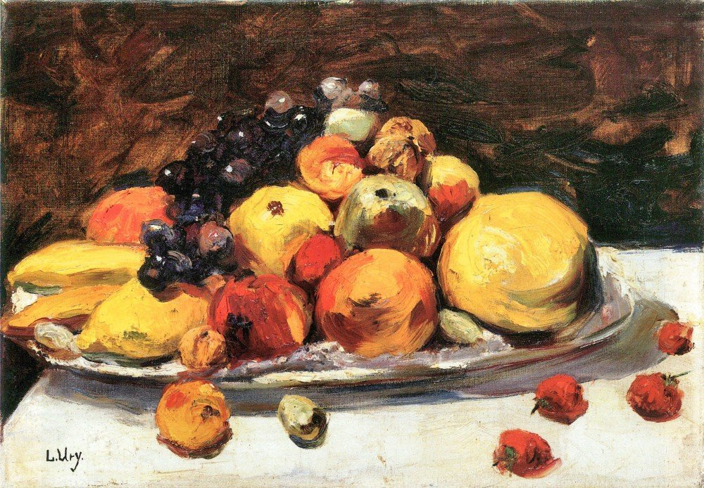 100% Hand Painted Oil on Canvas - Fruit still life on a white blanket by Less...