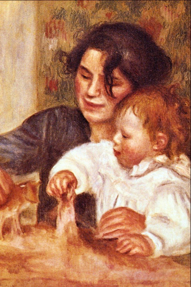 100% Hand Painted Oil on Canvas - Gabrielle and Jean by Renoir - 24x36 Inch