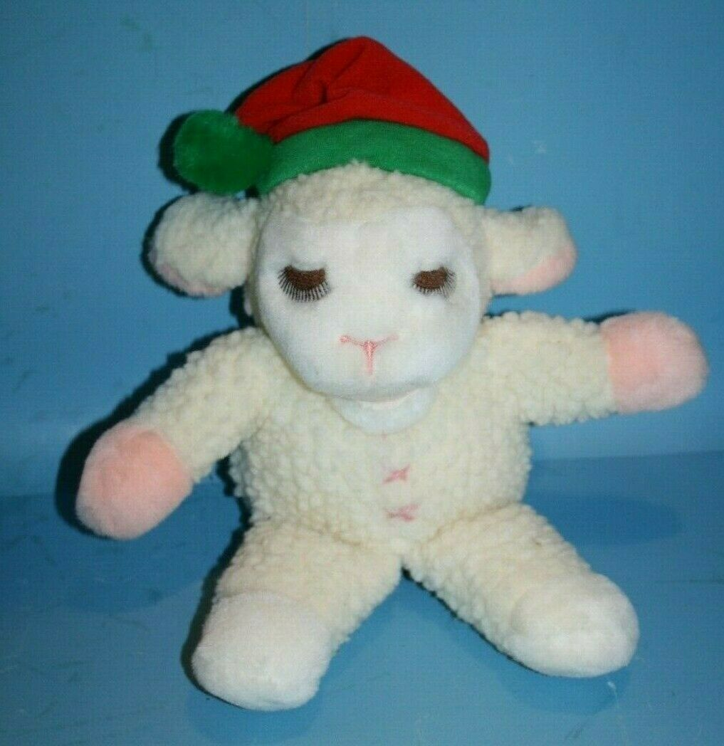 "Primary image for 1991 Avon LAMB CHOP 12"" Plush Shari Lewis Hand Puppet Xmas Santa Hat Stuffed Toy"