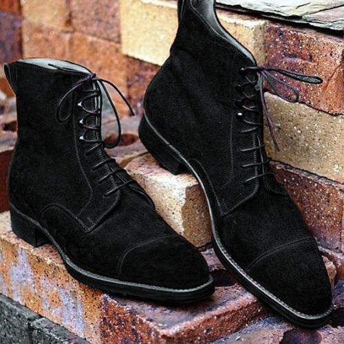 Handmade Men's BLack color cap toe ankle boots, Men suede Black ankle boots
