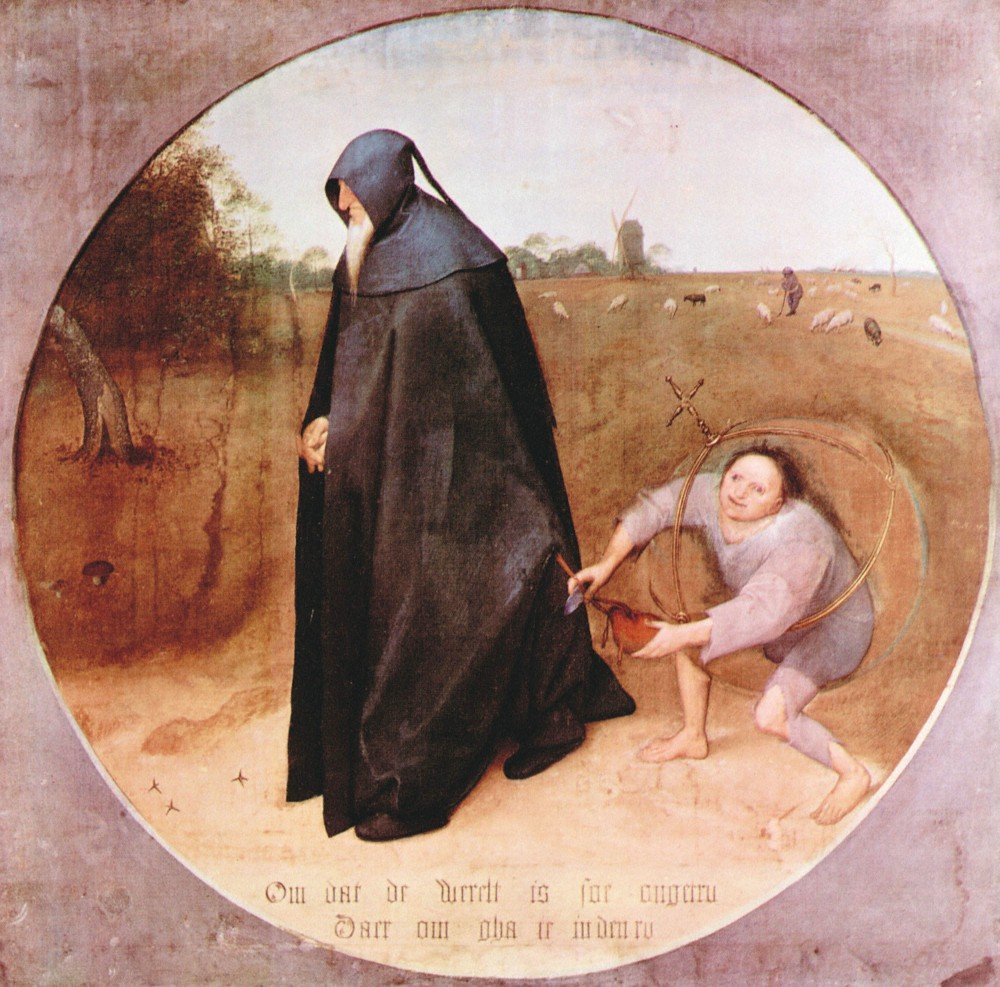 100% Hand Painted Oil on Canvas - Misanthrope by Pieter Bruegel - 20x24 Inch